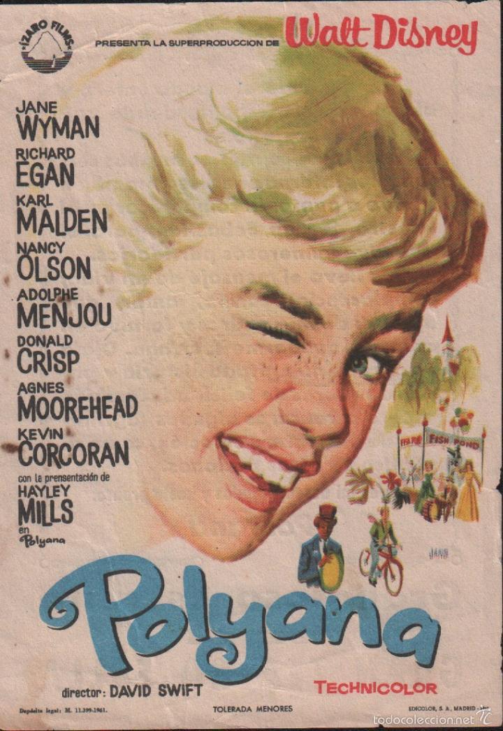 POLYANA - PROGRAMA SENCILLO DE IZARO FILMS CON PUBLICIDAD AL DORSO , RF-798 (Cine - Folletos de Mano - Infantil)