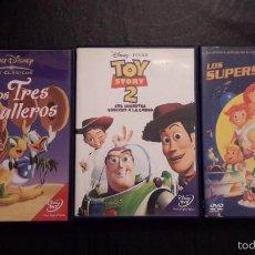 Cine: TRES PELÍCULAS DVD. LOS TRES CABALLEROS, TOM STORY 2 Y LOS SUPERSONICOS.. Lote 58187172