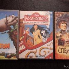 Cine: TRES PELÍCULAS DVD.OLENTZERO Y EL TRONCO MAGICO, POCAHONTAS2 VIAJE AL NUEVO MUNDO Y HORTON.. Lote 58188943