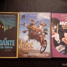 Cine: TRES PELÍCULAS DVD. EL GIGANTE DE HIERRO, EL LINCE PERDIDO Y LA MÚSICA DISNEY MÁS DIVERTIDA.. Lote 58189270