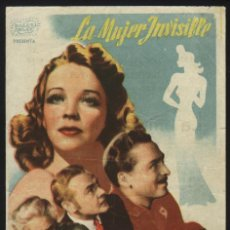 Cine: P-6471- LA MUJER INVISIBLE (THE INVISIBLE WOMAN) (FONDO AZUL) (VIRGINIA BRUCE - JOHN BARRYMORE). Lote 22795611