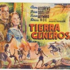 Flyers Publicitaires de films Anciens: TIERRA GENEROSA. SENCILLO DE UNIVERSAL. CINE MARI - LEÓN 1947. ¡IMPECABLE!. Lote 58238600