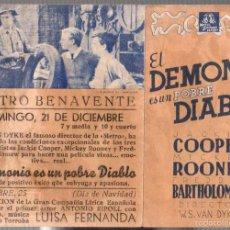 Cine: FOLLETO MANO EL DEMONIO ES UN POBRE DIABLO. JACKIE COOPER. MICKEY ROONEY. FREDDY BARTHOLOMEW. Lote 58325162