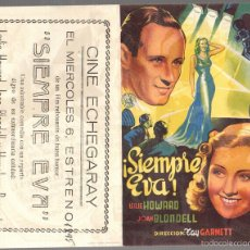 Flyers Publicitaires de films Anciens: FOLLETO MANO DOBLE SIEMPRE EVA. LESLIE HOWARD. JOAN BLONDELL. AÑO 1945. Lote 58325439