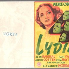 Flyers Publicitaires de films Anciens: FOLLETO MANO DOBLE LYDIA. MERLE OBERON. ALAN MARSHAL. HANS YARAY. JOSEPH COTTEN. Lote 58325491