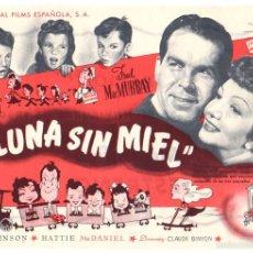 Cine: FOLLETO MANO LUNA SIN MIEL. CLAUDETTE COLBERT. FRED MACMURRAY. AÑO 1950. Lote 58325851