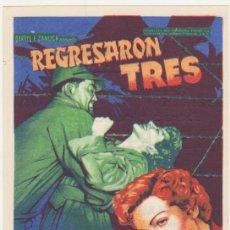 Cine: REGRESARON TRES. SOLIGÓ. SENCILLO DE 20TH CENTURY. CIBNE MARI - LEÓN 1950. ¡IMPECABLE!. Lote 58359640