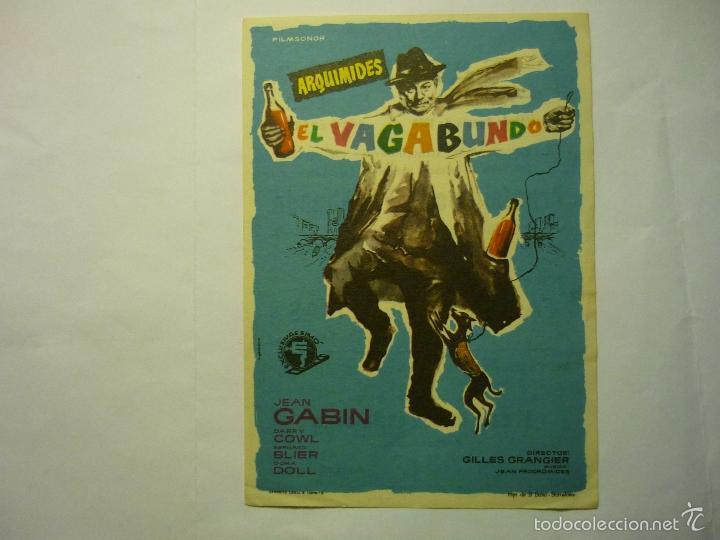 PROGRAMA ARQUIMEDES EL VAGABUNDO .- JEAN GABIN -PUBLICIDAD (Cine - Folletos de Mano - Comedia)