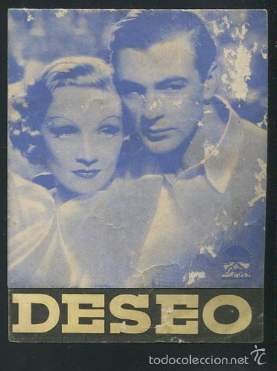 PROGRAMA DESEO MARLENE DIETRICH GARY COOPER CON PUBLICIDAD (Cine - Folletos de Mano - Comedia)