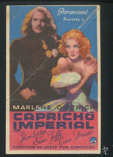 PROGRAMA CAPRICHO IMPERIAL MARLENE DIETRICH CON SELLO DE CINE (Cine - Folletos de Mano - Comedia)
