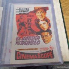Cine: EL JARDIN DEL DIABLO. GARY COOPER, SUSAN HAYWARD, RICHARD WIDMARK - SOLIGÓ CON PUBLICIDAD. Lote 58550235