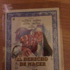 Cine: EL DERECHO DE NACER - AURORA BAUTISTA. Lote 58555060