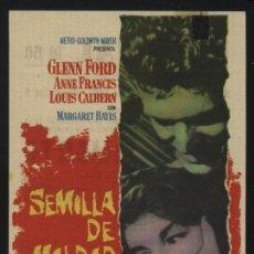 Cine: P-6558- SEMILLA DE MALDAD (THE BLACKBOARD JUNGLE) (CINE NACIONAL) GLENN FORD - SIDNEY POITIER. Lote 23683221