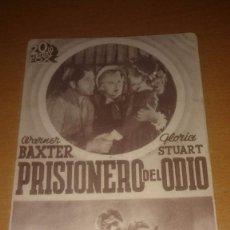 Cine: PROGRAMA DE CINE PRISIONERO DEL ODIO DE WARNER BAXTER Y GLORIA STUART. Lote 58847306