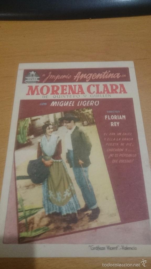 PROGRAMA CINE MORENA CLARA DE IMPERIO ARGENTINA SIN PUBLICIDAD (Cine - Folletos de Mano - Clásico Español)