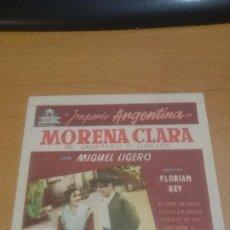 Cine: PROGRAMA CINE MORENA CLARA DE IMPERIO ARGENTINA SIN PUBLICIDAD. Lote 59145180