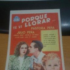Cine: PROGRAMA DE CINE PORQUE TE VI LLORAR . Lote 59145635