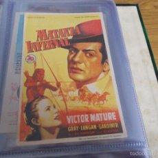 Cine: MATANZA INFERNAL. SOLIGÓ (VICTOR MATURE - COLEEN GRAY - GLENN LANGAN - REGINALD GARD CON PUBLICIDAD. Lote 59476169