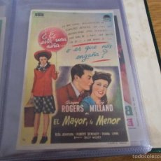 Flyers Publicitaires de films Anciens: EL MAYOR Y LA MENOR.GINGER ROGERS, RAY MILLAND. BILLY WILDER. CON PUBLICIDAD. Lote 59700567