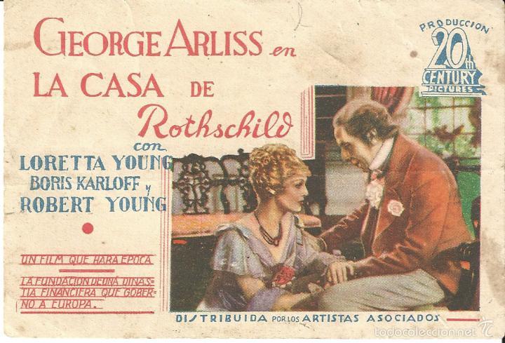 LA CASA DE ROTHSCHILD PROGRAMA TARJETA ARTISTAS ASOCIADOS BORIS KARLOFF LORETTA YOUNG HORIZONTAL (Cine - Folletos de Mano - Terror)