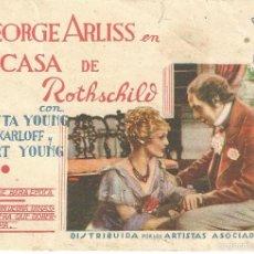 Cine: LA CASA DE ROTHSCHILD PROGRAMA TARJETA ARTISTAS ASOCIADOS BORIS KARLOFF LORETTA YOUNG HORIZONTAL. Lote 59841656