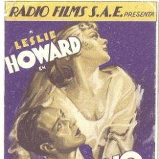 Cine: CAUTIVO DEL DESEO PROGRAMA TARJETA RKO FILMS BETTE DAVIS LESLIE HOWARD. Lote 59843668
