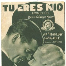 Cine: TU ERES MIO PROGRAMA DOBLE VERDE MGM JEAN HARLOW CLARK GABLE. Lote 59852420