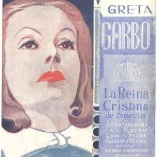 Cine: LA REINA CRISTINA DE SUECIA PROGRAMA DOBLE MGM GRETA GARBO JOHN GILBERT. Lote 59852916
