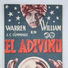 Cine: PROGRAMA DE CINE - EL ADIVINO - PUBLICIDAD TEATRO GUIMERÀ / PICAROL CINEMA, BADALONA - AÑO 1934. Lote 59889579