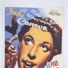 Cine: PROGRAMA DE CINE - UNA ESTRELLA DE OCASIÓN - PUBLICIDAD CINE ZORRILLA / VICTORIA, BADALONA -AÑO 1944. Lote 59892703