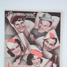 Cine: PROGRAMA CINE DOBLE - ALEGRÍA ESTUDIANTIL - BING CROSBY - TEATRO GUIMERÀ / PICAROL, BADALONA, 1935. Lote 59894419