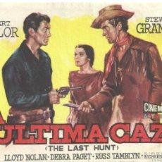 Cine: LA ULTIMA CAZA THE LAST HUNT PROGRAMA SENCILLO SUEVIA INDIOS ROBERT TAYLOR NO ESTRENADA. Lote 59905983