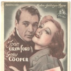 Cine: VIVAMOS HOY PROGRAMA TARJETA MGM JOAN CRAWFORD GARY COOPER HOWARD HAWKS. Lote 59906147