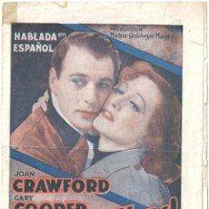 Cine: VIVAMOS HOY PROGRAMA DOBLE MGM JOAN CRAWFORD GARY COOPER HOWARD HAWKS. Lote 59906479