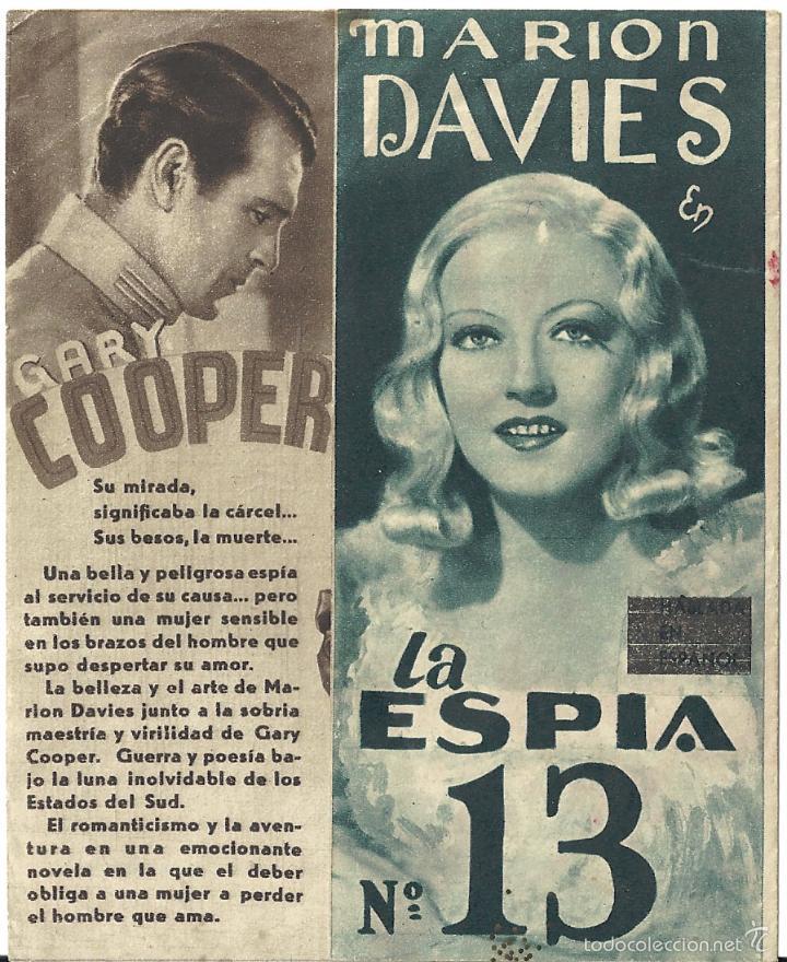LA ESPIA NUMERO 13 / EL OPERADOR NUMERO 13 PROGRAMA DOBLE MGM GARY COOPER MARION DAVIES JEAN PARKER (Cine - Folletos de Mano - Suspense)