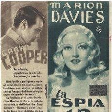 Cine: LA ESPIA NUMERO 13 / EL OPERADOR NUMERO 13 PROGRAMA DOBLE MGM GARY COOPER MARION DAVIES JEAN PARKER. Lote 59907703