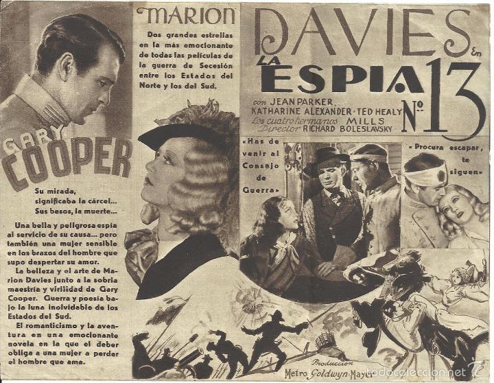Cine: LA ESPIA NUMERO 13 / EL OPERADOR NUMERO 13 PROGRAMA DOBLE MGM GARY COOPER MARION DAVIES JEAN PARKER - Foto 2 - 59907703