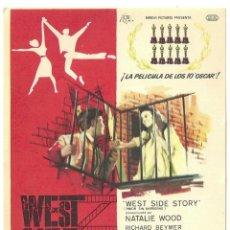 Flyers Publicitaires de films Anciens: WEST SIDE STORY PROGRAMA SENCILLO CB ESTRENO NATALIE WOOD V.O. SUBTITULADA. Lote 60042415