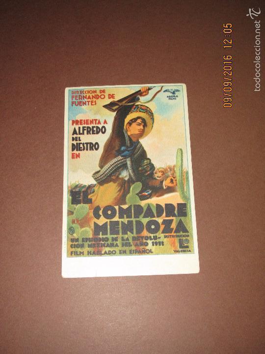 ANTIGUO PROGRAMA DE CINE TARJETA *EL COMPADRE MENDOZA * ALFREDO DEL DIESTRO EN SALÓN ESPAÑA AÑO 1936 (Cine - Folletos de Mano - Comedia)