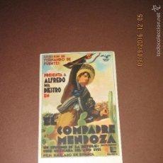 Cine: ANTIGUO PROGRAMA DE CINE TARJETA *COMPADRE MENDOZA * EN SALÓN ESPAÑA DEL AÑO 1936. Lote 60054939