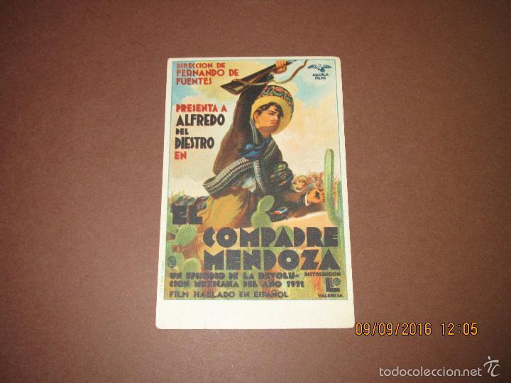 Cine: Antiguo Programa de Cine Tarjeta *EL COMPADRE MENDOZA * Alfredo del Diestro en Salón ESPAÑA Año 1936 - Foto 2 - 60054939