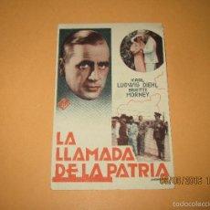 Cine: ANTIGUO PROGRAMA DE CINE TARJETA *LA LLAMADA DE LA PATRIA* EN CINE MONUMENTAL - AÑO 1930S.. Lote 60056091