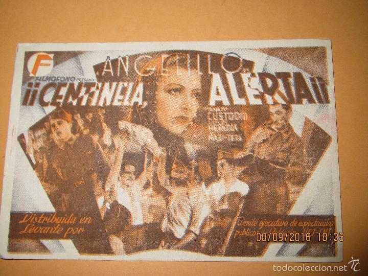 Cine: Programa de Cine Tarjeta * CENTINELA ALERTA * con Angelillo en CENTRAL C.N.T. y U.G.T. - Año 1930s. - Foto 2 - 60059715