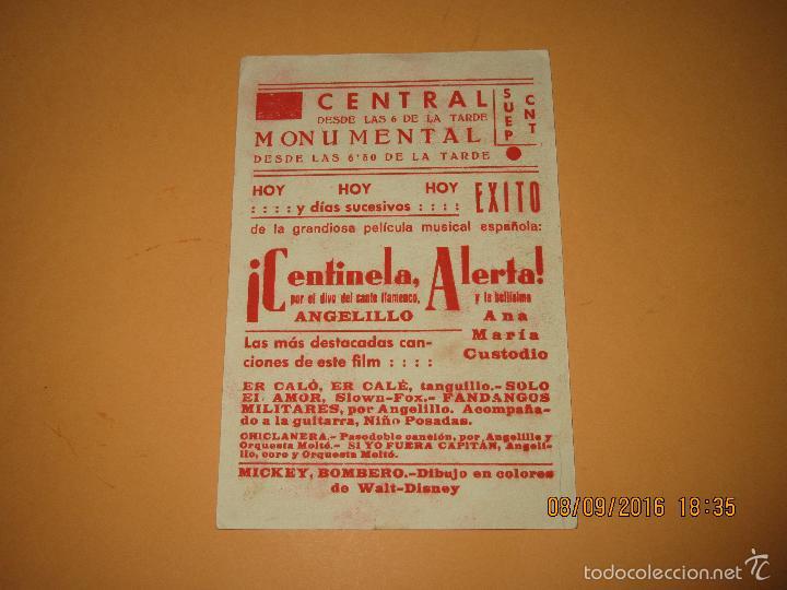 Cine: Programa de Cine Tarjeta * CENTINELA ALERTA * con Angelillo en CENTRAL C.N.T. y U.G.T. - Año 1930s. - Foto 3 - 60059715
