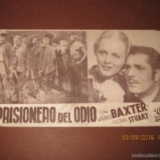Cine: ANTIGUO PROGRAMA DE CINE TARJETA CARTÓN *PRISIONERO DEL ODIO* EN CINE IDEAL DE IBI - AÑO 1940. Lote 60210699