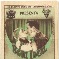 Cine: D BEAU IDEAL PROGRAMA DOBLE CINAES LORETTA YOUNG RALPH FORBES LEGION. Lote 60255907