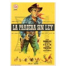 Flyers Publicitaires de films Anciens: FOLLETO DE MANO, LA PRADERA SIN LEY, KIRK DOUGLAS.. Lote 60264215