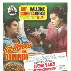Cine: LOS HEROES DEL DOMINGO PROGRAMA SENCILLO CIFESA FUTBOL RAF VALLONE. Lote 60352431