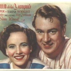 Flyers Publicitaires de films Anciens: EL ORGULLO DE LOS YANQUIS PROGRAMA SENCILLO DCA GARY COOPER TERESA WRIGHT BEISBOL. Lote 60353935