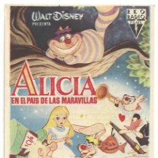 Cine: ALICIA EN EL PAIS DE LAS MARAVILLAS PROGRAMA SENCILLO RKO RADIO WALT DISNEY. Lote 32478597